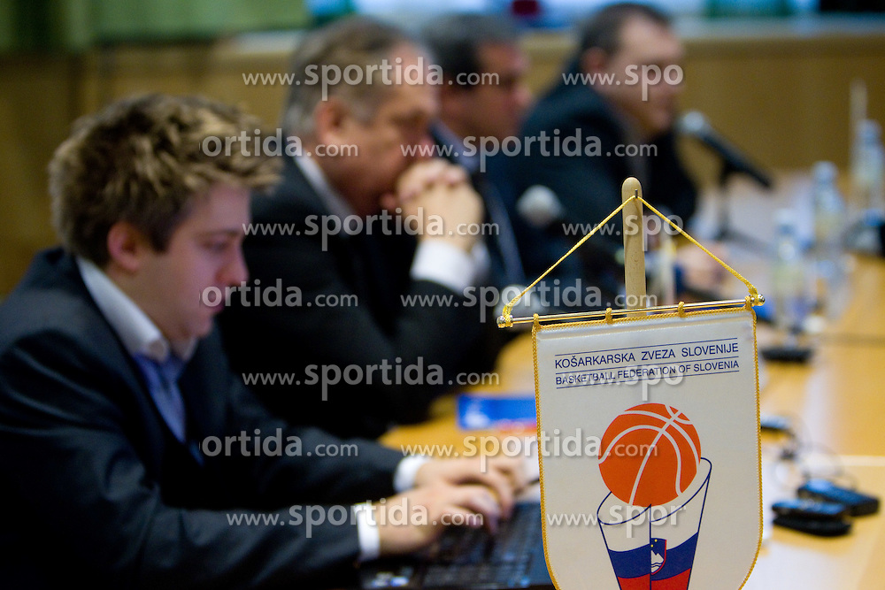 Anze Blazic, communications manager fo KZS, Coach Serbian Bozidar Maljkovic, Roman Volcic, president of KZS and Matej Avanzo, director of National Team at press conference of new head coach of Slovenian national basketball team, on December 21, 2010 in Hotel Turist, Ljubljana, Slovenia. (Photo By Vid Ponikvar / Sportida.com)
