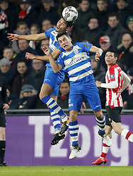(L-R) Nicolas Freire of PEC Zwolle, Erik Bakker of PEC Zwolle, Hirving Lozano of PSV, during the Dutch Eredivisie match between PSV Eindhoven and PEC Zwolle at the Phillips stadium on February 03, 2018 in Eindhoven, The Netherlands
