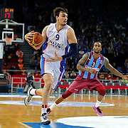 Anadolu Efes's Dario Saric (L) and Trabzonspor's Demarquis D'Angelo Bost (R) during their Turkish Basketball League Play Off Semi Final round 1 match Anadolu Efes between Trabzonspor at Abdi Ipekci Arena in Istanbul Turkey on Friday 29 May 2015. Photo by Aykut AKICI/TURKPIX