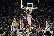 Anderson Varejao of Cleveland guards Earl Barron of Miami..The Miami Heat lost to the host Cleveland Cavaliers 84-76 at Quicken Loans Arena, April 13, 2008...