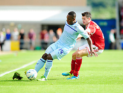 Bristol City's Brendan Moloney closes down Coventry City's Franck Moussa  - Photo mandatory by-line: Dougie Allward/JMP - Tel: Mobile: 07966 386802 11/08/2013 - SPORT - FOOTBALL - Sixfields Stadium - Sixfields Stadium -  Coventry V Bristol City - Sky Bet League One