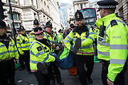Climate change activist from the Extinction Rebellion group is arrested for blocking the street at Bank in the heart of the City of London financial district in protest that the government is not doing enough to avoid catastrophic climate change and to demand the government take radical action to save the planet, on 25th April 2019 in London, England, United Kingdom. Extinction Rebellion is a climate change group started in 2018 and has gained a huge following of people committed to peaceful protests.