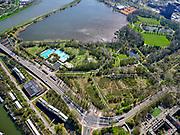 Nederland, Noord-Holland, Amsterdam; 16-04-2021; Zeeburg. Flevopark en Flevoparkbad. Nieuwe Diep.<br /> <br /> luchtfoto (toeslag op standard tarieven);<br /> aerial photo (additional fee required)<br /> copyright © 2021 foto/photo Siebe Swart