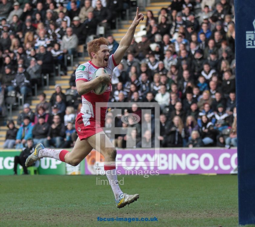 Picture by Richard Gould/Focus Images Ltd +447814 482222.29/03/2013.Kris Welham of Hull Kingston Rovers runs in a disallowed try and taunts the home crowd with his celebration during the Super League match at the KC Stadium, Kingston upon Hull.