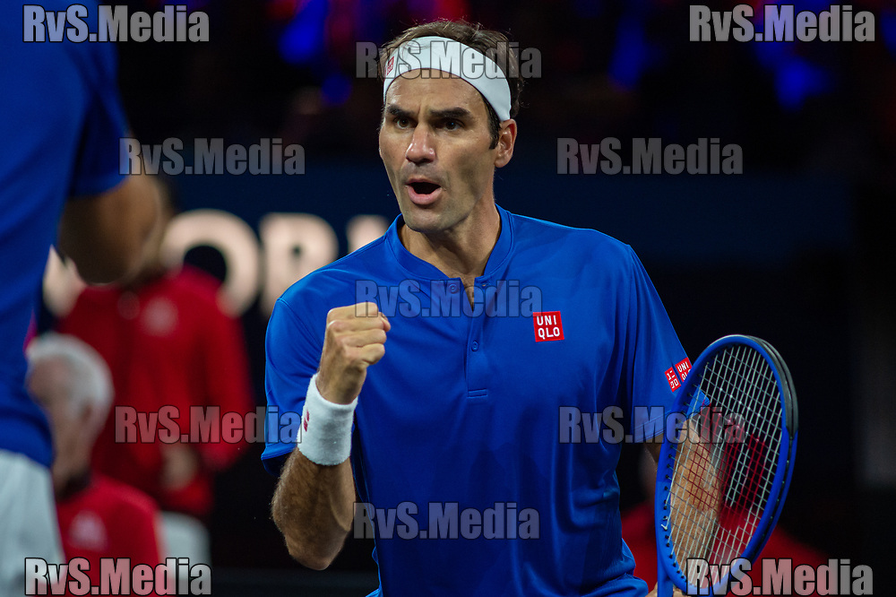 GENEVA, SWITZERLAND - SEPTEMBER 22: Roger Federer of Team Europe reacts after a point during Day 3 of the Laver Cup 2019 at Palexpo on September 22, 2019 in Geneva, Switzerland. The Laver Cup will see six players from the rest of the World competing against their counterparts from Europe. Team World is captained by John McEnroe and Team Europe is captained by Bjorn Borg. The tournament runs from September 20-22. (Photo by Monika Majer/RvS.Media)