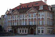 The Kinsky Palace in Old Town Square, Prague, Czech Republic. The Rococo style palace first built in 1755 by Jan Arnost Goltz and later owned by the Kinsky family and is now the National Gallery.