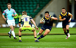 Will Butler of Worcester Warriors takes on Charlie Reed of Sale Sharks - Mandatory by-line: Robbie Stephenson/JMP - 28/07/2017 - RUGBY - Franklin's Gardens - Northampton, England - Sale Sharks v Worcester Warriors - Singha Premiership Rugby 7s