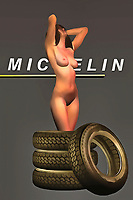 The image of a stunning nude woman with Michelin tires coming up to her ankles is certainly going to make for a fascinating image. With the extraordinary level of detail that can be found in this fine art piece, you are going to be absolutely lost in the possibilities suggested by these images. Michelin is a legendary name that inspires a number of thoughts and feelings. What does it mean to combine this iconic slogan and brand name with something as honest and open as the nude form of a human being? There are a number of different potential answers to that question. .<br /> <br /> BUY THIS PRINT AT<br /> <br /> FINE ART AMERICA<br /> ENGLISH<br /> https://janke.pixels.com/featured/michelin-pneus-jan-keteleer.html<br /> <br /> WADM / OH MY PRINTS<br /> DUTCH / FRENCH / GERMAN<br /> https://www.werkaandemuur.nl/nl/shopwerk/Pop-Art---Michelin-Pneus/438200/134