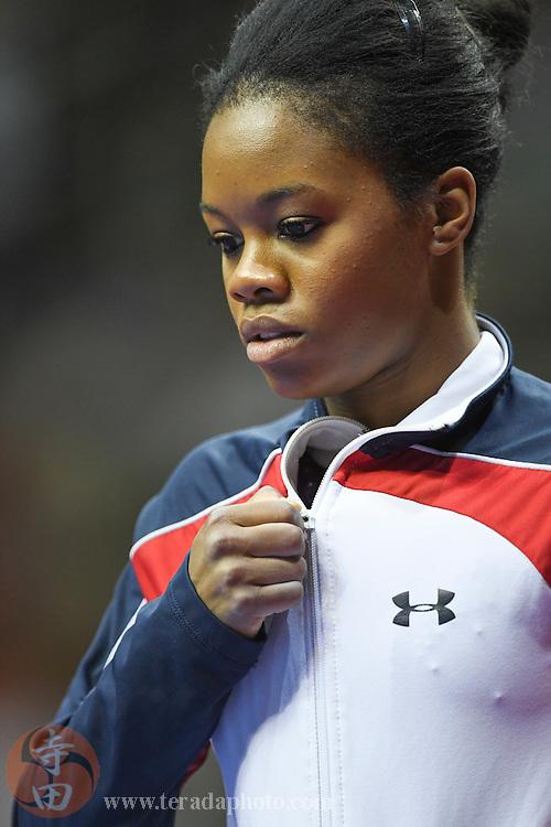 July 8, 2016; San Jose, CA, USA; Gabby Douglas, from Tarzana, CA, in the women's gymnastics U.S. Olympic team trials at SAP Center.