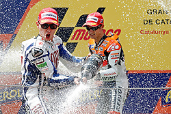 04.07.2010, Montmelo, Barcelona, ESP, MotoGP, Grand Prix von Katalonien im Bild Jorge Lorenzo - Fiat Yamaha team and Dani Pedrosa - Repsol Honda team, EXPA Pictures © 2010, PhotoCredit: EXPA/ InsideFoto/ Semedia *** ATTENTION *** FOR AUSTRIA AND SLOVENIA USE ONLY! / SPORTIDA PHOTO AGENCY