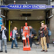 ActionAid's International Safe Cities for Women Day at Marble Arch, with an interactive exhibition featuring a group of 30 mannequins, London.<br /> Picture date: Thursday May 19, 2016. A third of the mannequins featured in the installation will be marked in red, to represent the one in three women who experience violence in their lifetimes. But behind every statistic is a real woman, and on each mannequin are quotes from women around the world telling their experience of urban violence and the stories behind the statistics. ActionAid is campaigning for the UK government to commit to increasing the proportion of aid going directly to women's groups working on the frontline in poor communities. (photo by Andrew Aitchson/ActionAid)