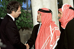 King Abdullah bin Al Hussein (right) receives condolences from British Prime Minister Tony Blair during funeral in Amman, Jordan on February 8, 1999. Twenty years ago, end of January and early February 1999, the Kingdom of Jordan witnessed a change of power as the late King Hussein came back from the United States of America to change his Crown Prince, only two weeks before he passed away. Photo by Balkis Press/ABACAPRESS.COM