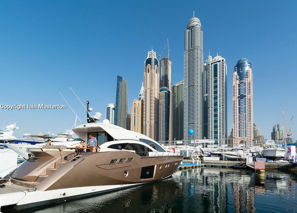 Skyline and yachts during Dubai International Boat Show 2014 United Arab Emirates