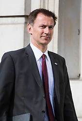 Cabinet Office, London, June 4th 2017. Health Secretary Jeremy Hunt arrives at the Cabinet Office in Whitehall for the emergency COBRA Committee meeting following the London Bridge and Borough Markets terrorist incident which claimed the lives of six members of the public and injured over twenty more.