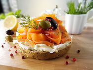 Smoked salmon and cream cheese on a bagel