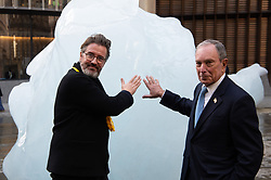 © Licensed to London News Pictures. 11/12/2018. London, UK. Artist Olafur Eliasson and Michael R. Bloomberg UN Special Envoy for Climate Action and Founder of Bloomberg LP and Bloomberg Philanthropies launch Ice Watch display blocks of melting glacier ice across two public sites in the centre of London to create a major artwork. Photo credit: Ray Tang/LNP