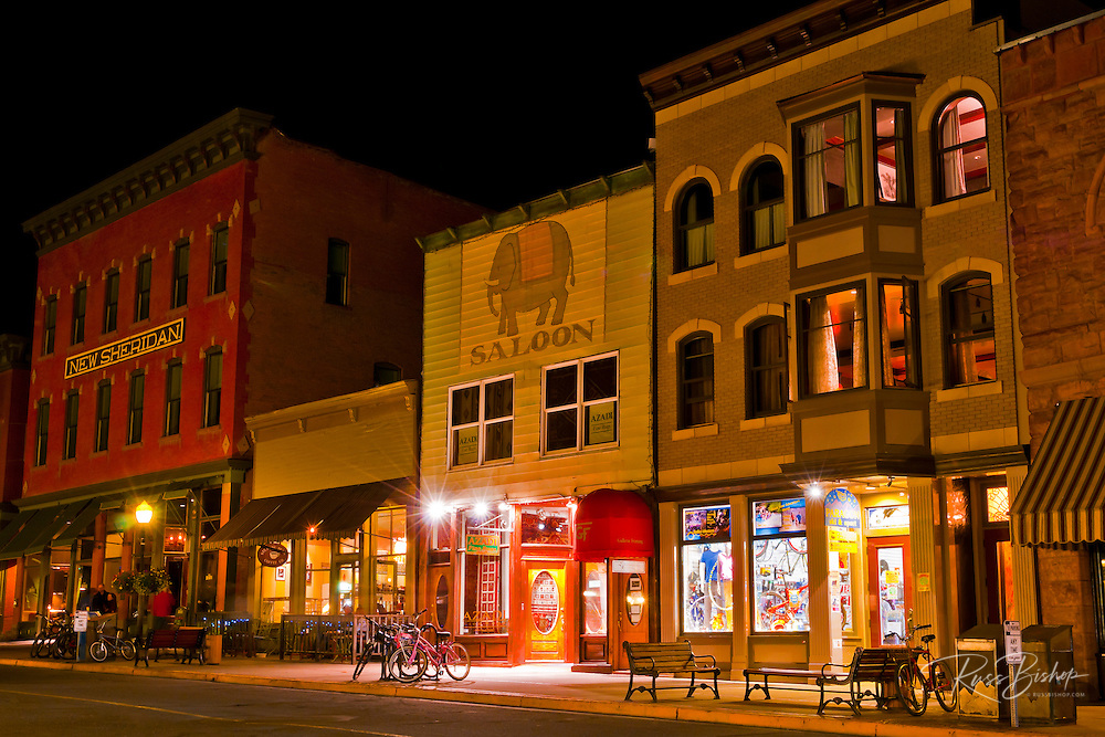 Historic downtown buildings at night, Telluride, Colorado