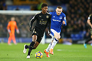 Demarai Gray of Leicester City looks to get away from Wayne Rooney of Everton. Premier league match, Everton v Leicester City at Goodison Park in Liverpool, Merseyside on Wednesday 31st January 2018.<br /> pic by Chris Stading, Andrew Orchard sports photography.