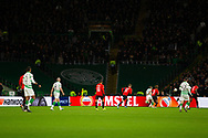 The large section of the stand where the 'Green Brigade' would occupy remains empty during the Europa League match between Celtic and Rennes at Celtic Park, Glasgow, Scotland on 28 November 2019.