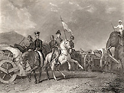 Arthur Wellesley, 1st Duke of Wellington (1769-1852) Anglo-Irish soldier and statesman. Wellington in India at the Battle of Conaghull, 10 September 1800.  On the gun carriage, centre right, is the body of  Doondiah Waugh, the Indian leader.  Engraving c1860.