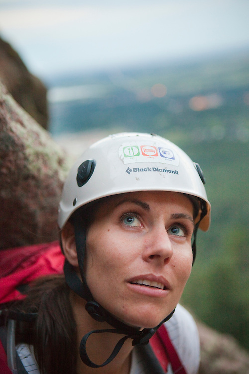 Grace Marx climbs Fandango (5.5) on the First Flatiron in Boulder, Colorado.