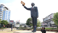 South Africa – Johannesburg – O R Tambo statue – 27 October 2020. A 9m high statue of Oliver Tambo stands near the international arrivals at O R Tambo international airport. It was unveiled on 27 October by president Cyril Ramaphosa as he gave the OR Tambo speech. Picture: Timothy Bernard/African News Agency(ANA)