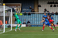Blackburn Rovers' Dominic Samuel heads just over the crossbar<br /> <br /> Photographer Andrew Kearns/CameraSport<br /> <br /> The EFL Sky Bet League One - Peterborough United v Blackburn Rovers - Saturday 9th December 2017 - London Road Stadium - Peterborough<br /> <br /> World Copyright © 2017 CameraSport. All rights reserved. 43 Linden Ave. Countesthorpe. Leicester. England. LE8 5PG - Tel: +44 (0) 116 277 4147 - admin@camerasport.com - www.camerasport.com