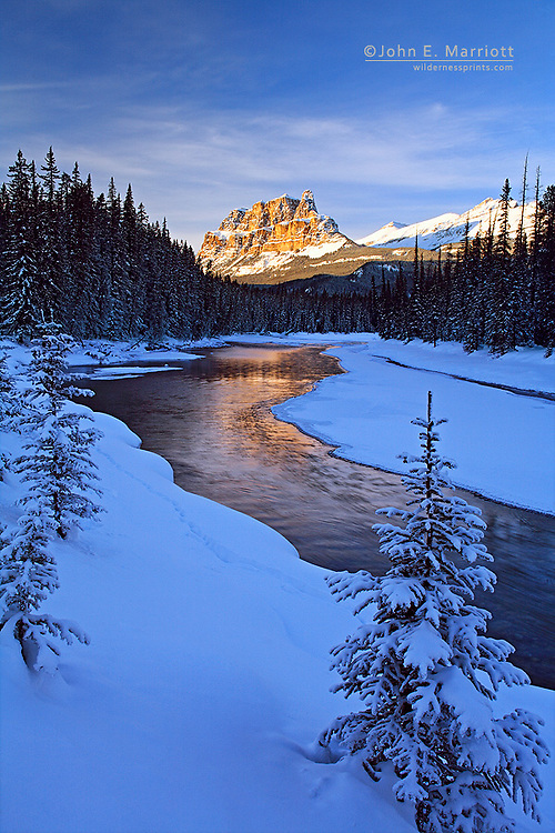 Castle Mountain and the Bow River in the Bow River Valley, Banff National Park, Alberta, Canada in the Canadian Rocky Mountains