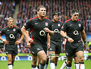Dylan Hartley and the England team leave the pitch at half time during the Investec series international between England and Australia at Twickenham, London, on Saturday 13th November 2010. (Photo by Andrew Tobin/SLIK images)