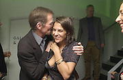 Nicholas Serota and Tracey Emin. This is Another Place. Tracey Emin opening. Modern Art. Oxford, 9 November 2002. © Copyright Photograph by Dafydd Jones 66 Stockwell Park Rd. London SW9 0DA Tel 020 7733 0108 www.dafjones.com