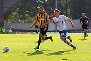 Bury's Danny Mayor attempts to get past Southend's John White (l) down the wing. Skybet football league two match, Bury v Southend Utd at Gigg Lane in Bury, England on Sat 21st Sept 2013. pic by David Richards/Andrew Orchard sports photography