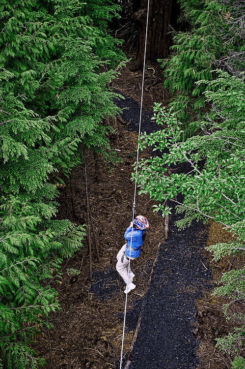 Woman enjoys a zipline adventure through the trees, Ketchikan, AK, Alaska, USA