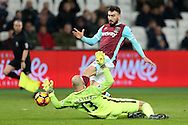 Goalkeeper Wilfredo Caballero of Manchester City saves at the feet of Robert Snodgrass of West Ham United. Premier league match, West Ham Utd v Manchester city at the London Stadium, Queen Elizabeth Olympic Park in London on Wednesday 1st February 2017.<br /> pic by John Patrick Fletcher, Andrew Orchard sports photography.