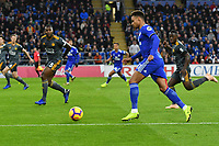 Football - 2018 / 2019 Premier League - Cardiff City vs. Leicester City<br /> <br /> Bruno Ecuele Manga Cardiff City attacks in Leicster's 1st match since the death of Vichai Srivaddhanaprabha, at Cardiff City Stadium.<br /> <br /> COLORSPORT/WINSTON BYNORTH