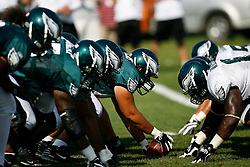 Philadelphia Eagles at the line of Scrimmage during the Philadelphia Eagles NFL training camp in Bethlehem, Pennsylvania at Lehigh University on Saturday August 8th 2009. (Photo by Brian Garfinkel)
