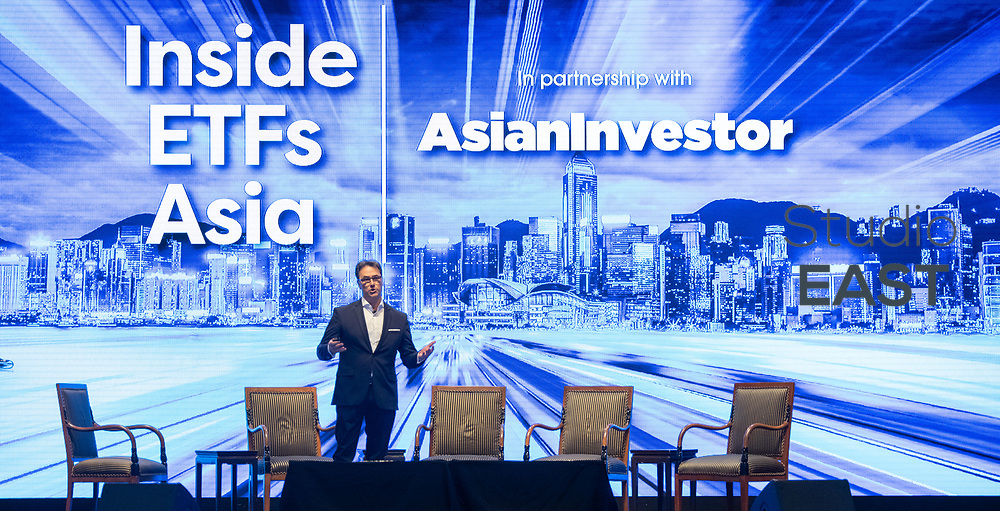 Presentation by Roberto Lazzarotto, Head of Sales, Senior Managing Director, STOXX, during Inside ETFs Asia Conference at the Grand Hyatt hotel, Hong Kong, China, on 7 November 2018. Photo by Lucas Schifres/Studio EAST