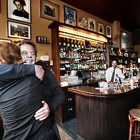 Nederland, Amsterdam , 21 november 2012..1 van de eigenaren Pepijn Zonneveld wordt gefeliciteerd met zijn café Hoppe die benoemd is tot café van het Jaar..Foto:Jean-Pierre Jans
