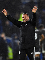 Football - 2019 / 2020 Premier League - Brighton & Hove Albion vs. Leicester City<br /> <br /> Leicester City manager Brendan Rodgers salutes the fans after their 2-0 victory, at The Amex.<br /> <br /> COLORSPORT/ASHLEY WESTERN