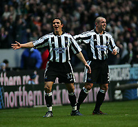 Photo. Andrew Unwin.<br /> Newcastle United v Liverpool, Barclays Premiership, St James' Park, Newcastle upon Tyne 05/03/2005.<br /> Newcastle's Laurent Robert (L) celebrates scoring his team's first goal with Stephen Carr (R).