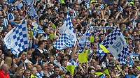 Football - 2016 / 2017 Championship Playoff Final: Reading vs. Huddersfield<br /> <br /> Huddersfield fans cheer their team onto the pitch  at Wembley Stadium.<br /> <br /> COLORSPORT/DANIEL BEARHAM