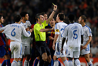 Photo: Richard Lane.<br />Barcleona v Chelsea. UEFA Champions League, Group A. 31/10/2006. <br />Chelsea's John Terry is booked by referee, Stefano Farina.