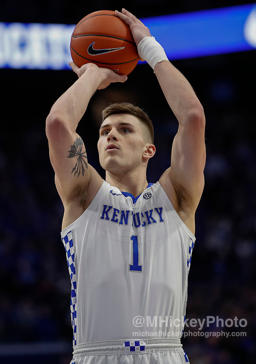 LEXINGTON, KY - JANUARY 04: Nate Sestina #1 of the Kentucky Wildcats shoots a free throw during the game against the Missouri Tigers at Rupp Arena on January 4, 2020 in Lexington, Kentucky. (Photo by Michael Hickey/Getty Images) *** Local Caption *** Nate Sestina