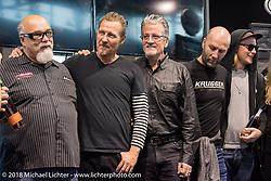 Dave Perewitz, Jeff Decker, Ray Drea and Fred Bertrand at a special awards ceremony during Motor Bike Expo. Verona, Italy. January 23, 2016.  Photography ©2016 Michael Lichter.