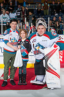 KELOWNA, CANADA - FEBRUARY 10: Brodan Salmond #31 of the Kelowna Rockets accepts the third star of the game against the Vancouver Giants on February 10, 2017 at Prospera Place in Kelowna, British Columbia, Canada.  (Photo by Marissa Baecker/Shoot the Breeze)  *** Local Caption ***