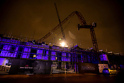 © Licensed to London News Pictures. 10/12/2019. London, UK. A huge construction crane collapses in Fassett Road off Penrhyn Road, Kingston next to the University as high winds and rain hit the London area. Weather experts have predicted that wind, rain and showers will continue for the General Election on Thursday 12th December 2019. Photo credit: Alex Lentati/LNP