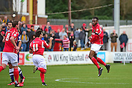 Ebbsfleet United midfielder Anthony Cook (2) celebrates his goal 1-1 during the Vanarama National League South match between Ebbsfleet United and East Thurrock United at the Enclosed Ground, Whitehawk, United Kingdom on 4 March 2017. Photo by Jon Bromley.