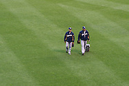 Members of the Milwaukee Brewers bullpen arrive prior to a game against the Minnesota Twins on May 29, 2013 at Target Field in Minneapolis, Minnesota.  The Twins defeated the Brewers 4 to 1.  Photo: Ben Krause