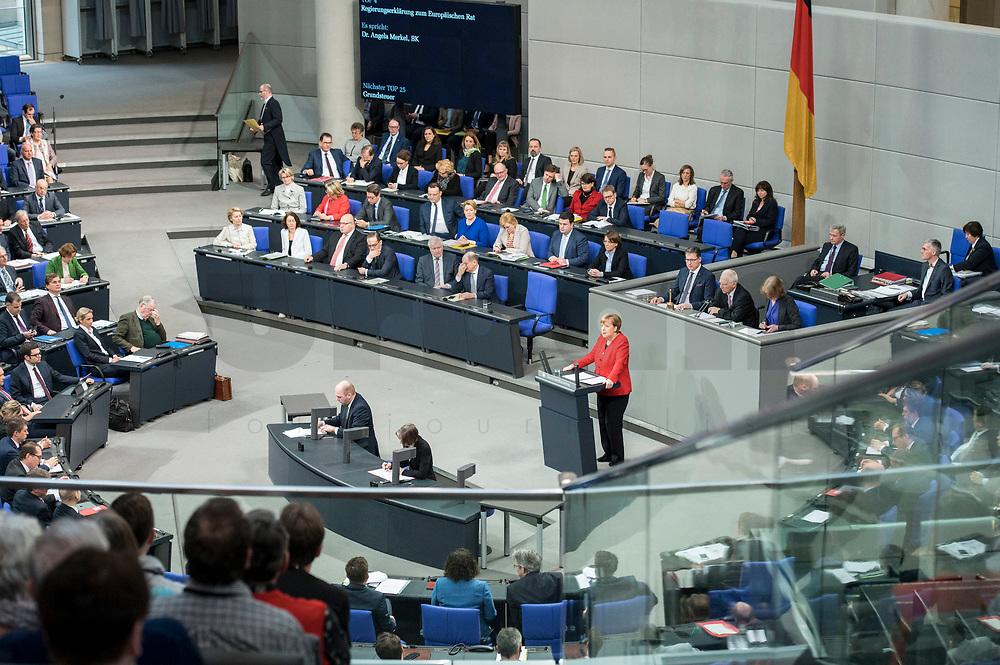 21 MAR 2019, BERLIN/GERMANY:<br /> Angela Merkel, CDU Bundeskanzlerin, waehrend einer  Regierungserklaerung zum Europaeischen Rat vor der kompletten Regierungsbank, Plenum, Deutscher Bundestag<br /> IMAGE: 20190321-01-020