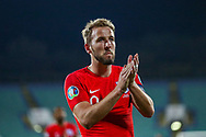 England forward Harry Kane thanks fans at full time during the UEFA European 2020 Qualifier match between Bulgaria and England at Stadion Vasil Levski, Sofia, Bulgaria on 14 October 2019.