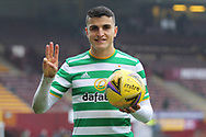 Mohamed Elyounoussi (Celtic) after his hat trick during the Scottish Premiership match between Motherwell and Celtic at Fir Park, Motherwell, Scotland on 8 November 2020.
